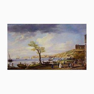 Giuseppe Pellegrini, View of the Bay of Naples, Oil on Canvas