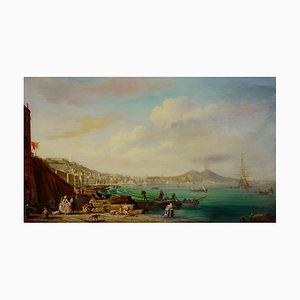 Giuseppe Pellegrini, View of Naples with Mount Vesuvius, Oil on Canvas