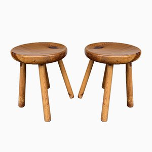 French Pine Stools in the style of Charlotte Perriand, 1960s, Set of 2