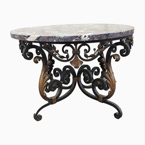 Coffee Table in Iron and Marble, 1940s