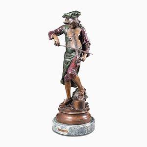 Tall Vintage Bronze Violinist Statue