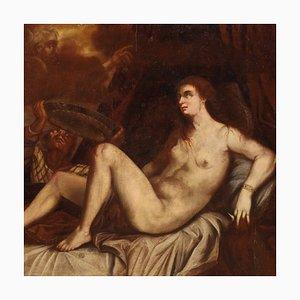 Grande Peinture 18ème Siècle de Danae et la Pluie Dorée