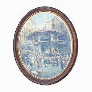 Emile Henry, Paar Ansichten von Marseille, Aquarelle, 20. Jahrhundert, 2er Set