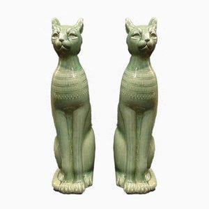 Italienische Mid-Century Katzen Skulpturen aus Celadon Keramik, 2er Set