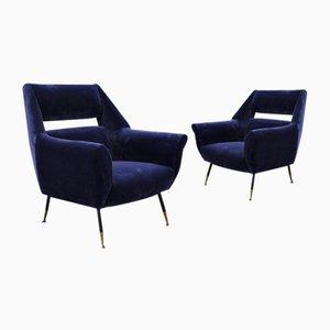 Fauteuils Mid-Century en Velours Bleu, 1960s, Set de 2