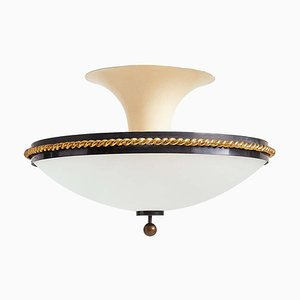 Large Bronze and Glass Flush Ceiling Light