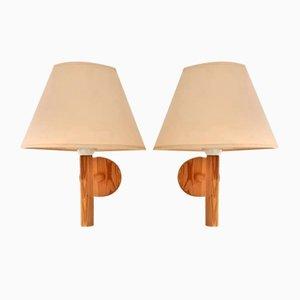 Lampes de Bureau ou Lampes de Lit en Bois de Solbackens Svarveri, Suède, 1970s, Set de 2