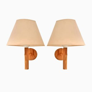 Swedish Pine Wall or Bed Lamps from Solbackens Svarveri, 1970s, Set of 2