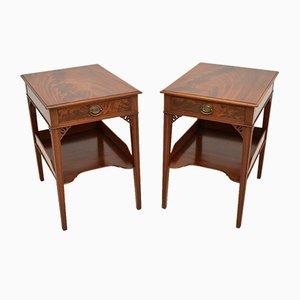 Antique Mahogany Bedside Tables, Set of 2