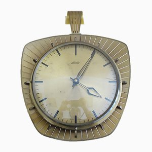 Atlanta Brass and Glass Electric Wall Clock, Germany, 1960s