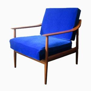 Blauer Samtsessel mit Geschwungenen Sitzen, 1960er