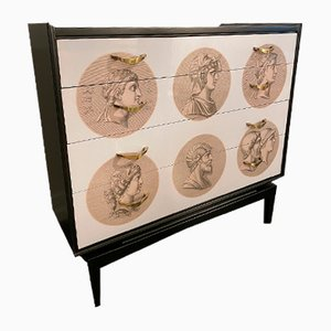Chest of Drawers with 6 Roman Medallions in the Style of Fornasetti