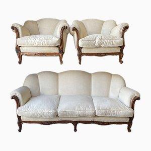 Baroque Sofa & Armchairs, Set of 3