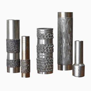 Brutalist Steel Vases, Set of 5