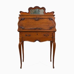 Small Antique French Oak Ladies Writing Desk, 1900s