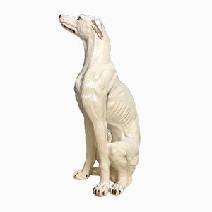Große Handbemalte italienische Keramik Greyhound Skulptur, 1960er