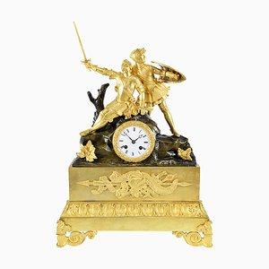 Grand Pendule avec Chevaliers en Bronze Doré et Patiné