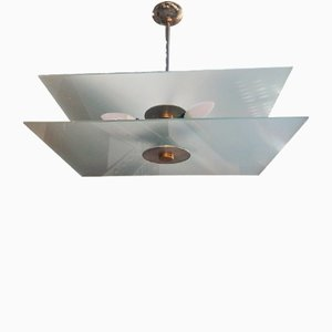 Frosted Glass, Brass & Nickel-Plated Pendant Lamp, 1930s