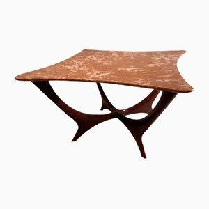 Dark Wood Marble Top Coffee Table by Ico & Luisa Parisi