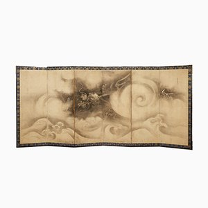 17th Century Japanese Six Panel Screen with Leaping Tiger and Bamb, Set of 2