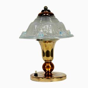 Französische Opalglas Schreibtischlampe