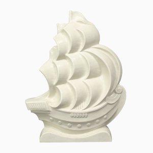Art Deco Ceramic Boat Sculpture