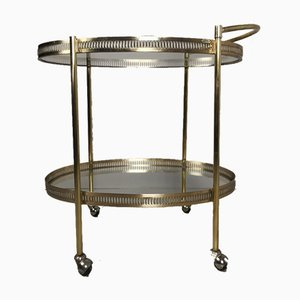 Brass and Glass Bar Trolley, 1950s