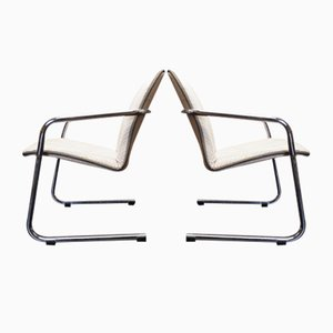 Bauhaus Armchairs with Chrome Frames, 1970s, Set of 2