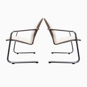 Poltrone Bauhaus con struttura placcata in cromo, anni '70, set di 2