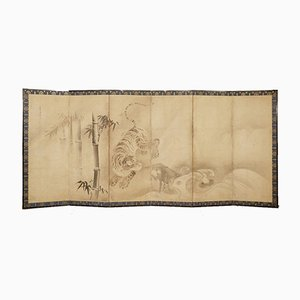 17th Century Japanese Six Panel Screen with Leaping Tiger and Bamboo , Set of 2