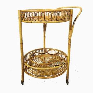 Bamboo Rattan Wicker Trolley, 1950s
