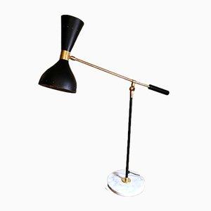 Lampe de Bureau Modèle Diabolo en Laiton avec Socle en Marbre de Carrare dans le Style de Stilnovo