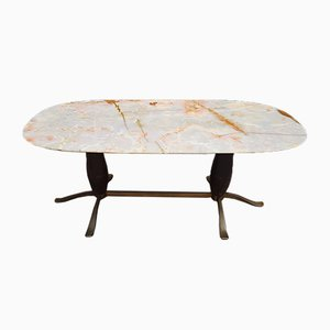 Brass and Mahogany Alabaster Dining Table, 1950s