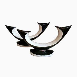Keramik Kerzenhalter in Schwarz und Weiß im Rockabilly Stil, 2er Set