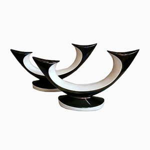 Rockabilly Style Black and White Ceramic Candlesticks, Set of 2