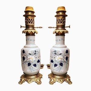Lampes à Huile en Verre Opalin avec Finitions en Bronze Peint à la Main, France, Set de 2