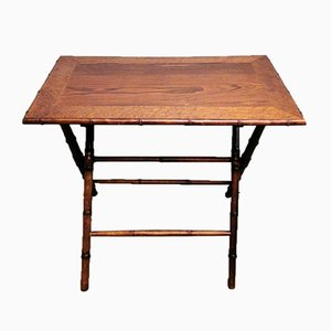 Art Deco Style French Folding Table in Walnut, Walnut Briar and Faux Bamboo