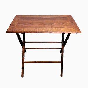 Table Pliante Style Art Déco en Noyer, Bruyère de Noyer et Faux Bambou, France