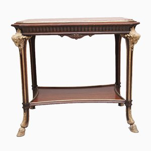 19th-Century French Mahogany Occasional Table with Marble Top