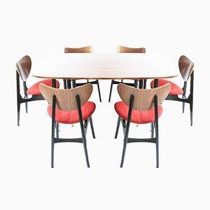 Ausziehbarer Mid-Century Tisch mit Butterfly Esszimmerstühlen von E. Gomme für G-Plan, 7er Set