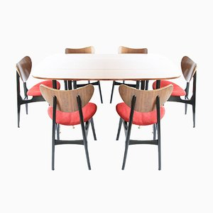 Mid-Century Drop Leaf Table with Butterfly Dining Chairs by E. Gomme for G-Plan, Set of 7