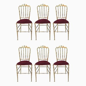 Chiavari Brass Chairs, Set of 6