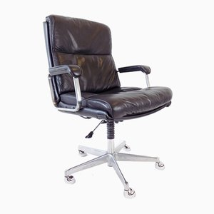 Black Leather Office Chair, 1970s