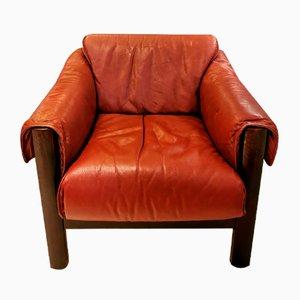 Brazilian Burgundy Leather Armchair, 1960s