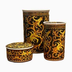 Cofanetto in porcellana e vasi di Versace, set di 3