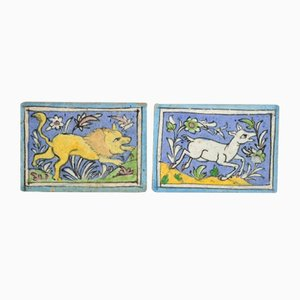 Antique Middle Eastern Qajar Dynasty Pottery Tiles, Set of 2
