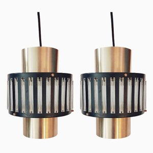 Vintage Pendant or Hanging Lamps with Glass Tubes from Schmahl & Schulz GmbH und Co. KG Metallwarenfabrik, 1960s, Set of 2