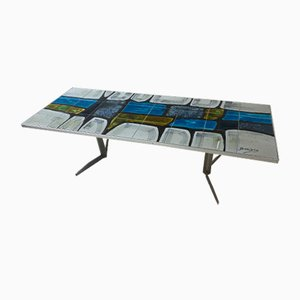 Vintage Modernist Mosaic and Steel Coffee Table, 1950s