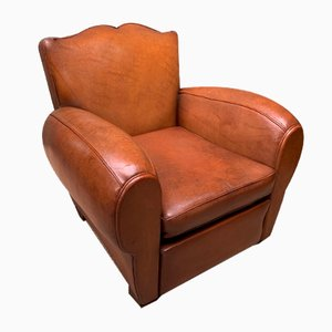 French Model Moustache Caramel Leather Club Chair, 1950s