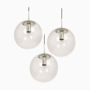 Large Chrome Pendant with Clear Glass Ball from Limburg, Germany, 1970s